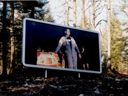 Grizedale Forest billboard image by collective 'People from Off' (Best, Poulter, Pope, Guthrie), 2000