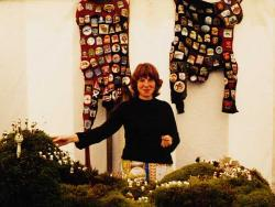 Artist Claire Shoosmith with a selection of work, 2000