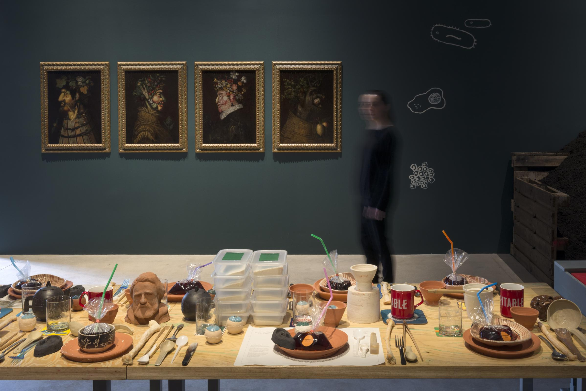 Installation view featuring paintings by Giuseppe Arcimboldo
