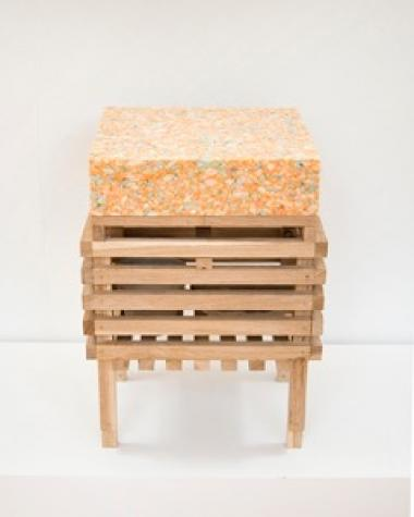 Stool/tray/basket with cushion