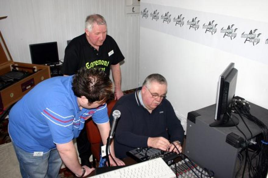 DJ huddle - Barry, Mark and Michael