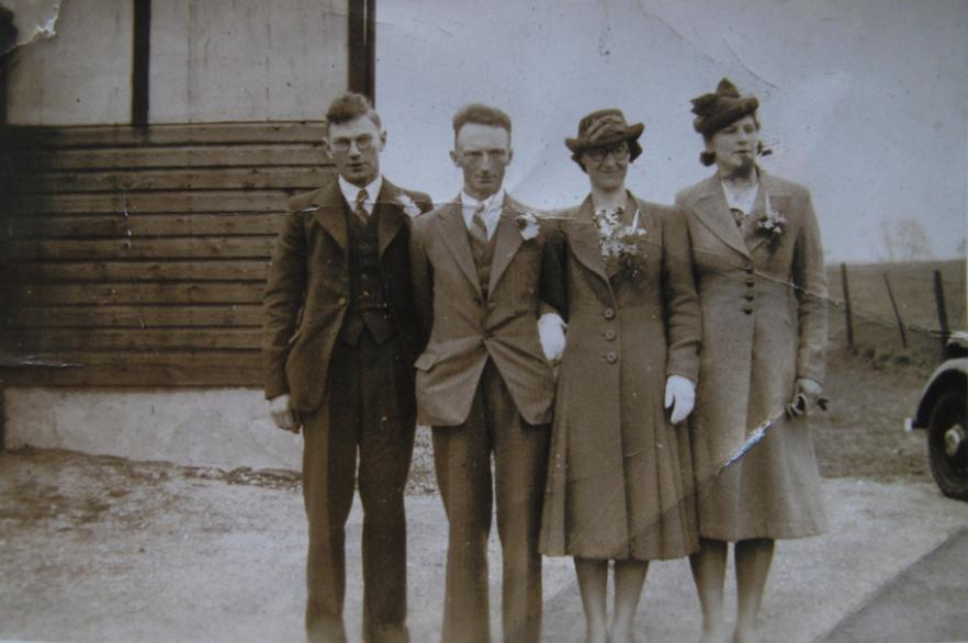 The Dinsdale's (centre) on their wedding day